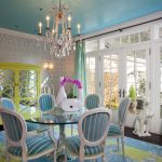 Traditional Dining Room Bright Colour Schemes Carpet Chairs Table Doors Chandelier Hardwood Floor Yellow Blue Rose