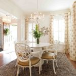 Traditional Dining Room Bright Colour Schemes Chairs Table Chandelier Window Curtains Hardwood Floor Decorative Plants Traditional Style