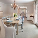 Traditional Dining Room Bright Colour Schemes Curtains Table Cabinet Chairs Chandelier Beige Light Blue Window Doors Hanging Lamps Tables