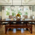 Traditional Dining Room Bright Colour Schemes Windows Medium Tone Hardwood Floor Chairs Table Cloth Flowers Hanging Lamps