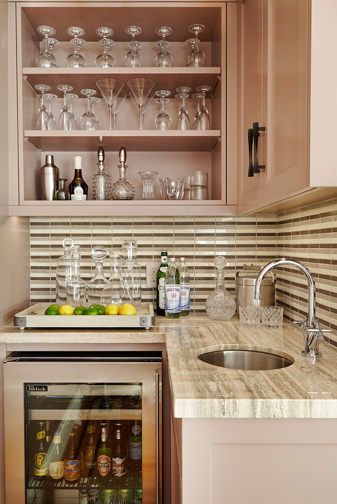 transitional bar with brown wooden cabinet, white marble counter top near sink