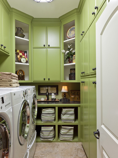 trendy green cabinets for a narrow laundry room