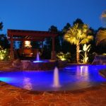 Tropical Yard With Pool, Round Jacuzzi, Orange Brown Tiles, Wooden Pergola, Palms