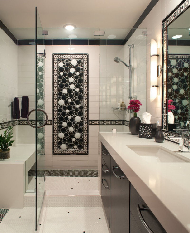 undermount sink flat panel cabinets black cabinets black and white tile ceramic tile white walls ceramic floors solid surface countertops