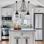 Unique Small Kitchen Island Ideas Wood Floor Stools Modern Hanging Lamps Wall Cabinet Transitional Room