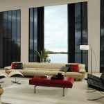Vertical Patio Door Window Treatment Modern Design Black Red And White Theme Couch Standing Lamp