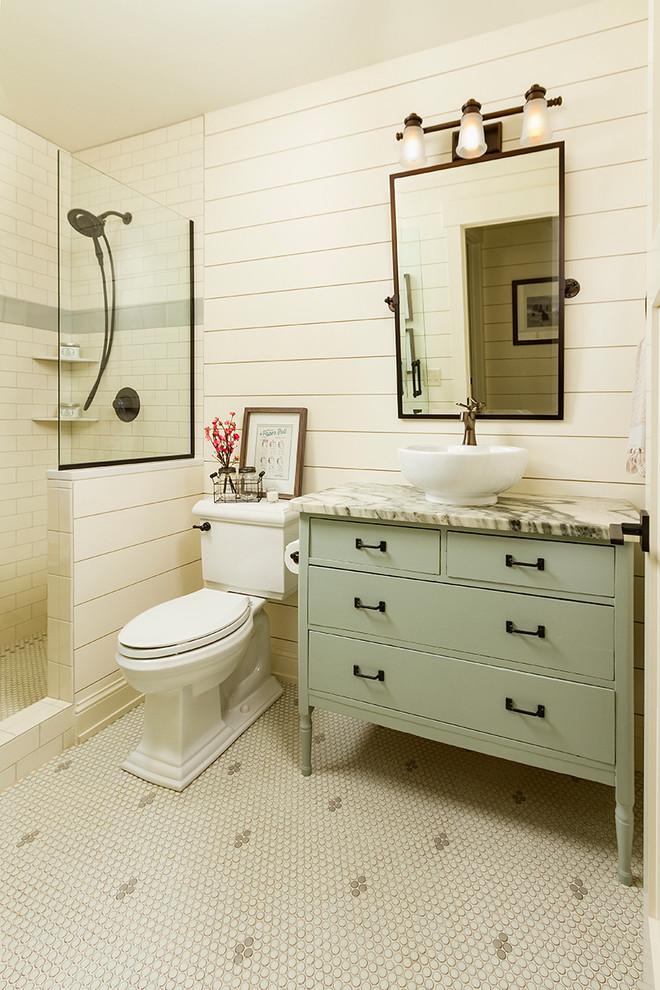 walk in shower concrete divider glass divider white bathroom tiles mosaic bathroom tiles floor rectangukar mirror white bowl sink beige cabinet