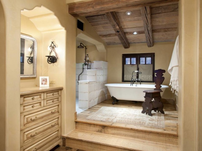 white bathroom tiles wooden floor ceiling bathroom furniture framed windows cream cabinet rectangular mirror white tub bronze shower brass tap