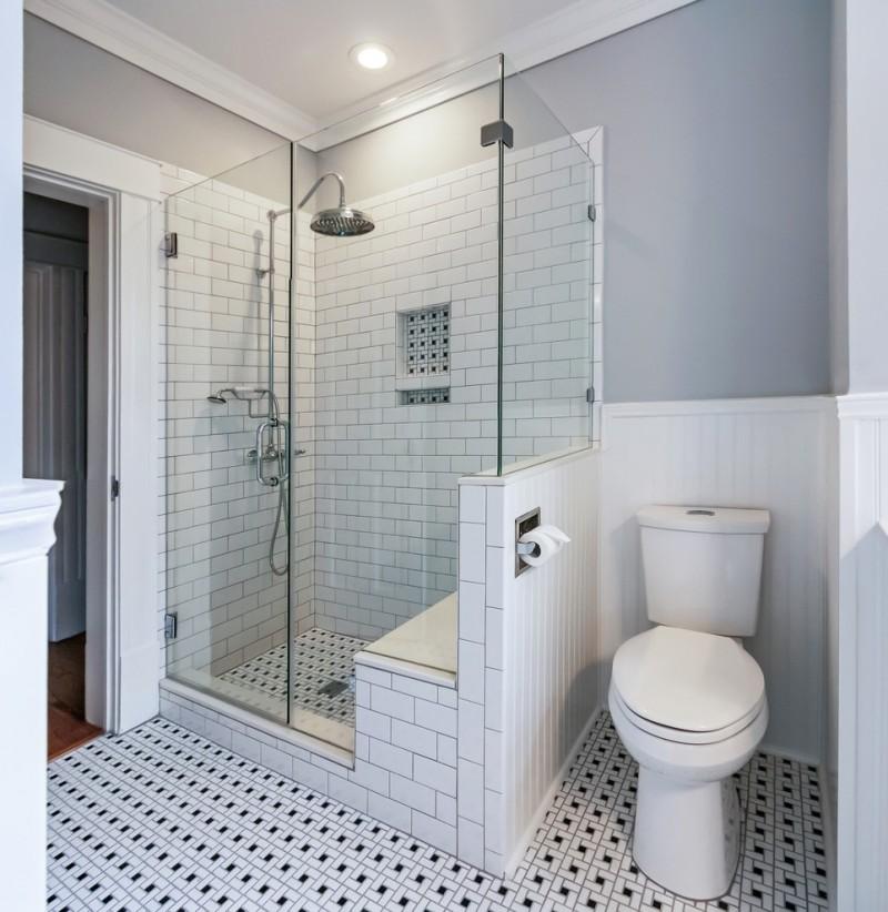 white black bathroom tiles white toilet glass shower room gray wall paint round lamp