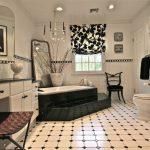 White Black Tiles Black Border Tiles White And Black Shade White Bathroom Cabinet Black Chair Pendant Lamp