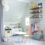White Blue Diamond Cut Walls Idea Featuring Stripes Ceiling Small White Table With Colorful Chairs Artificial Kitchen Set And Kitchen Appliances