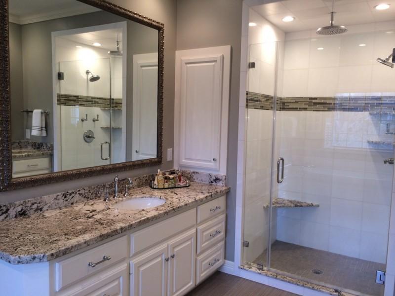 white cabinet exodus white granite bathroom spacious mirror glass door ceiling shower