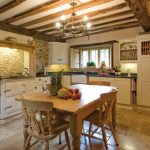 White Cabinet Pendant Lamp Cream Tile Floor Stone Fireplace Wooden Kitchen Set Ceiling