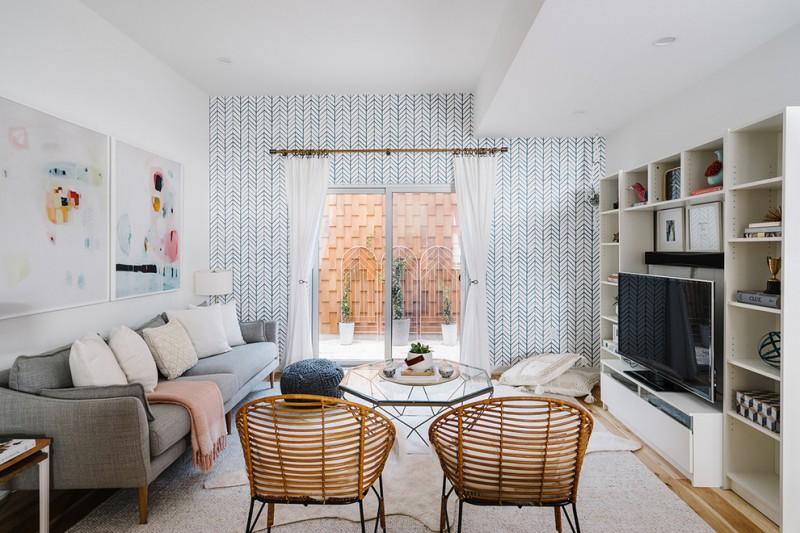 white curtain living room scandinavian furniture austin textured rug rattan chairs bookshelf comfy grey couch