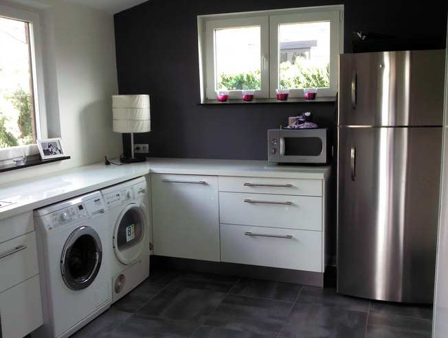 white monochrome cabinets for gothic laundry room near kitchen