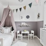 White Purple Wall Painting In Halfway Application Purple Decorative Tent A Couple Of White Small Chairs And Table Single Floating Shelfin White Light Toned Hardwood Floors Traditional White Bed Settee