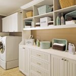 White Traditional Utility Cabinets In Laundry Room Withcoordinated Baskets