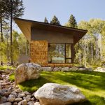 window design for small house contemporary exterior big window trees stones bed