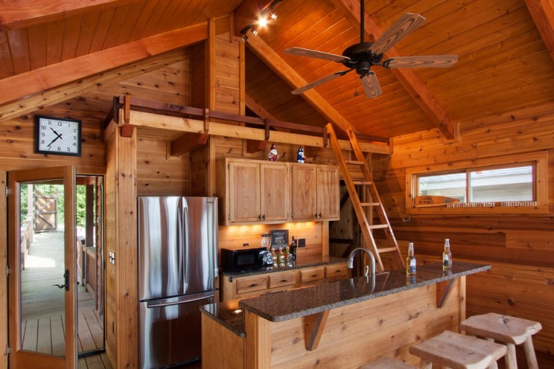 wood ceiling planks on vaulted ceiling room