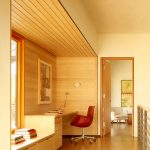 Wood Ceiling Planks Only On Home Office Area
