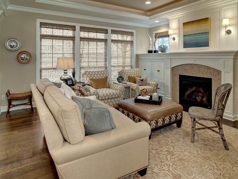 wood flooring ideas for living room carpet chairs sofa pillows painting wall lamp fireplace windows traditional room table