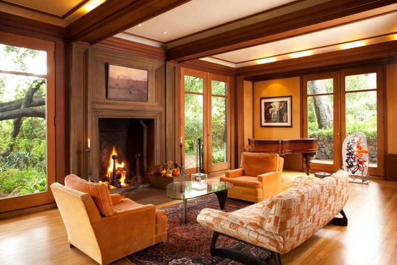 wood flooring ideas for living room carpet sofa seating painting glass door lighting fireplace glass top table piano