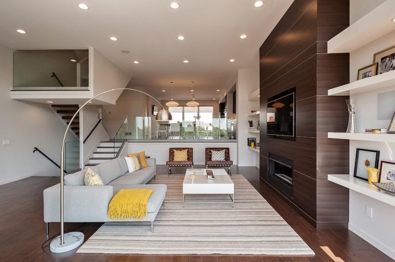 wood flooring ideas for living room chairs sofa pillows shelves wall tv modern lamp ceiling lights carpet table