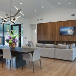 wood flooring ideas for living room modern chairs table window glass door hanging lights sofa pillows ceiling lamps
