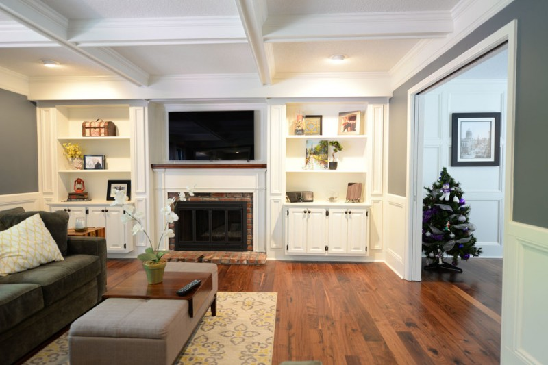 wood flooring ideas for living room sofa pillows carpet table shelves fireplace wall tv cabinets ceiling lights