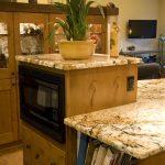 Wooden Cabinet Exodus White Granite Countertop Book Shelves
