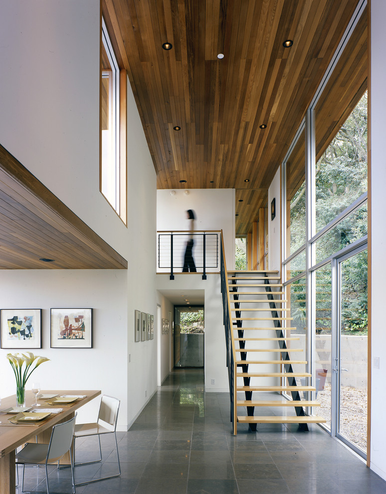 wooden ceiling plank on the living room and staircase