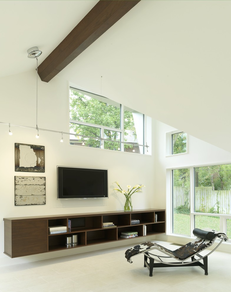 wooden long floating shelves under TV