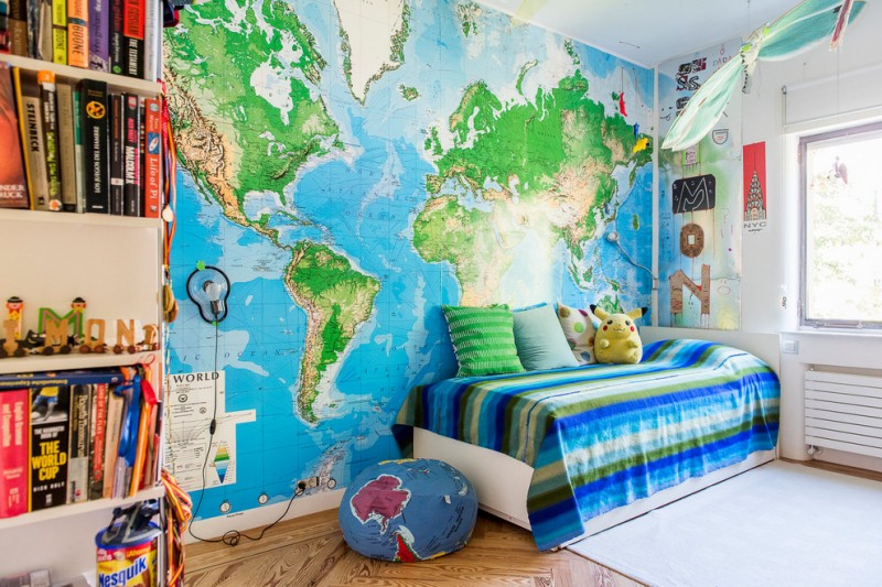 world map wall idea for kids multicolored bed linen with multicolored accent pillows world map bean bag chair wood floors white area rug