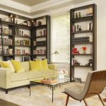 Wrapround Book Shelves Portrait Painting Wooden Chair Glass Table Transparent Curtain Wooden Ladder Yellow Cute Pillows