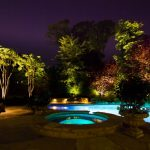 Yard With Round Pool, Bigger Pool, Lightings Under The Plants