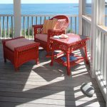 Apartment Balcony Furniture Wood Floor Railing Red Furniture Pieces Scenery Traditional Outdoor Area
