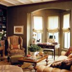Arched Window Accent Chair Built In Bookshelves Wallpaper Brown Wall Classic Wooden Table Table Lamp