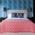 Asian Inspired Bedding Bed Carpet Bedside Tables Pillows Lamps Wall Patterns Contemporary Bedroom