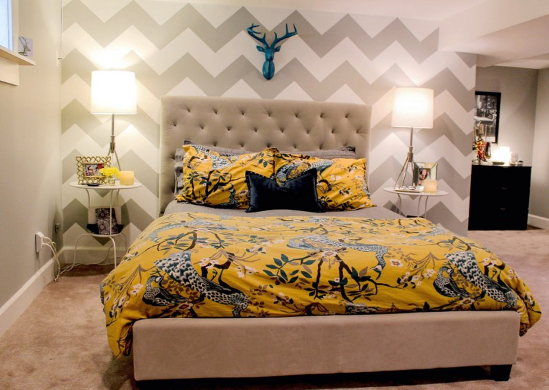 asian inspired bedding bed pillows bedside tables lamps contemporary style bedroom