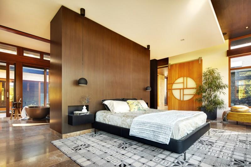 asian inspired bedding carpet pillows modern lamps sliding door window decorative plant ceiling light bedroom