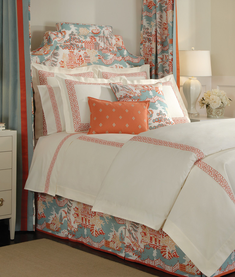 asian inspired bedding pillows carpet curtains lamp flowers tables traditional style bedroom