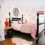 asian inspired bedding pillows carpets bedside tables lamps wall patterns