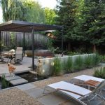 Backyard Patio Covers Oven Tall Back Chairs Round Table Benches Fountains Small Pond Climbing Vines Plants Modern Design