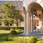 backyard patio covers tall back chairs stone pavers modern pendants plants mediterranean design