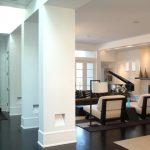 Baseboard Trim Styles Dark Floor Ceiling Lights Piano Sofa Pillows Carpet Long Shelf Contemporary Living Room