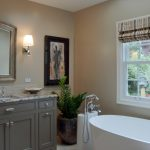 bathroom color trends beaded inset cabinets freestanding tub alcove shower undermount sink mirror granite countertop porcelain floors beige walls hanging lamps traditional design