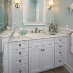 bathroom color trends ceramic tiles white vanities drawers storage sink faucets wall lamps decoration beach style