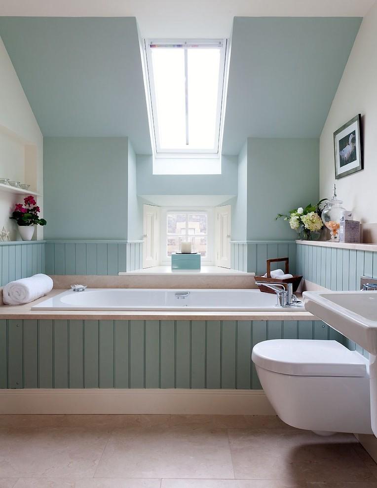 Bathroom Color Trends Green Panel Toilet Hanging Shelf Windows Tub Pedestal Sink Transitional Design
