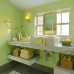 Bathroom Color Trends Hanging Lamp Floating Shelf Towel Rack Single Sink Faucets Mirror Windows Stone Tiles Marble Countertop Contemporary Design