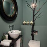 bathroom color trends wall sticker wooden floor hanging vanities round mirror sink faucet contemporary design